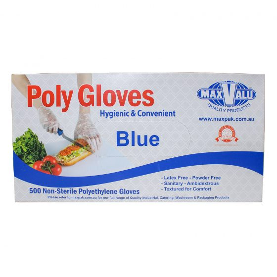 Blue Poly Gloves - Box