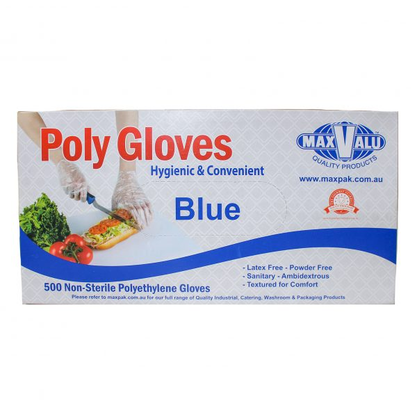 Blue Poly Gloves - Box